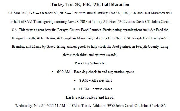 Turkey Trot for Feed for Forsyth