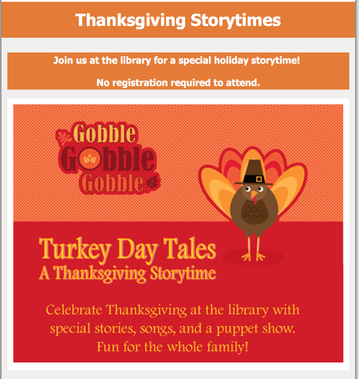 Turkey Day Tales: A Thanksgiving Storytime at the Forsyth County Libraries