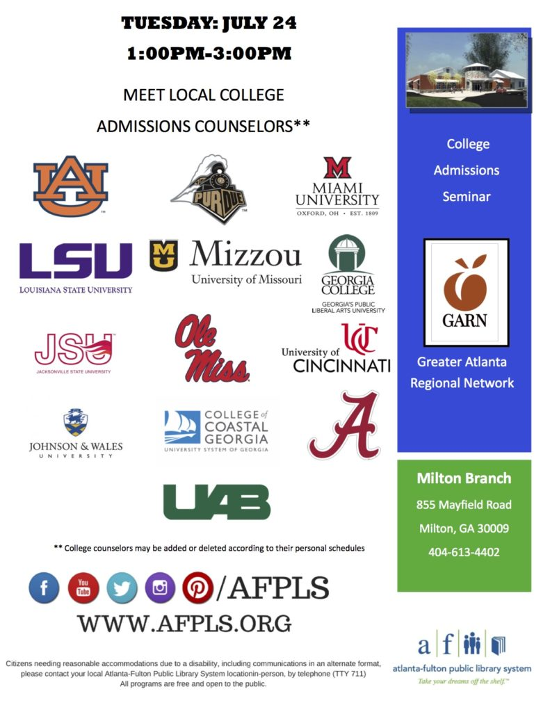 Local College Meet and Greet and College Admissions Seminar @ Milton Library | Alpharetta | Georgia | United States