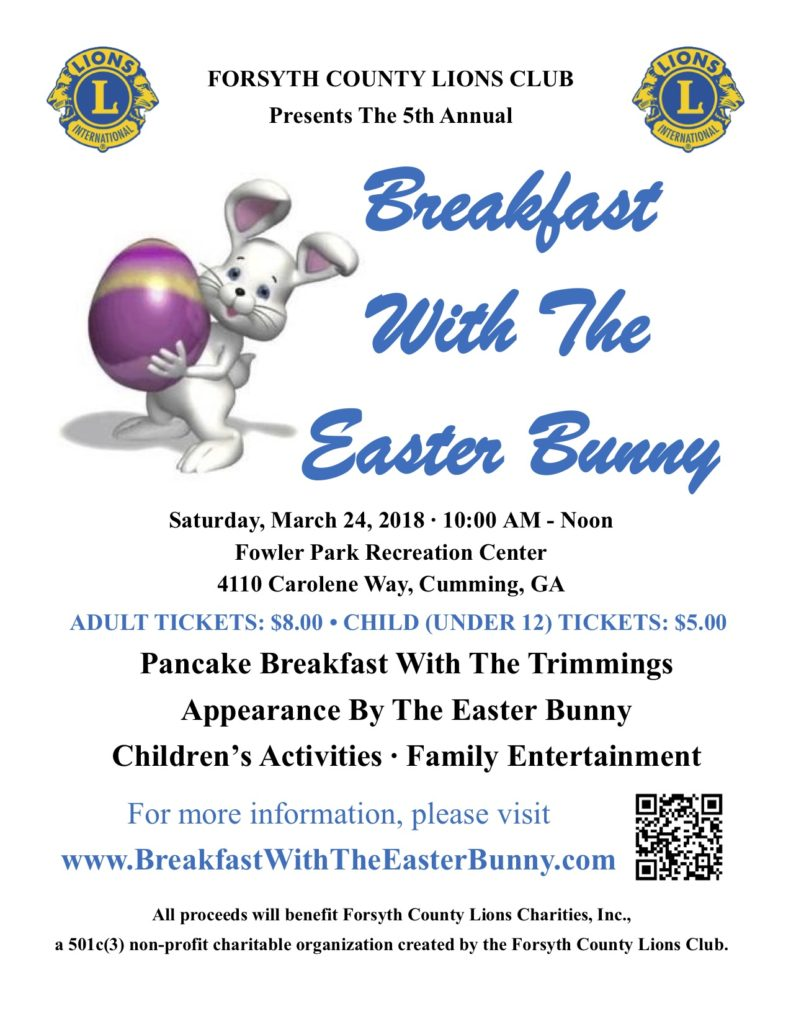 5th Annual Breakfast With The Easter Bunny @ Fowler Park Recreation Center | Cumming | Georgia | United States