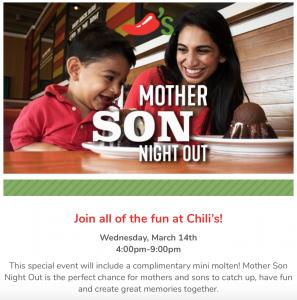 Mother/Son Night at Chili's @ Chili's | Cumming | Georgia | United States