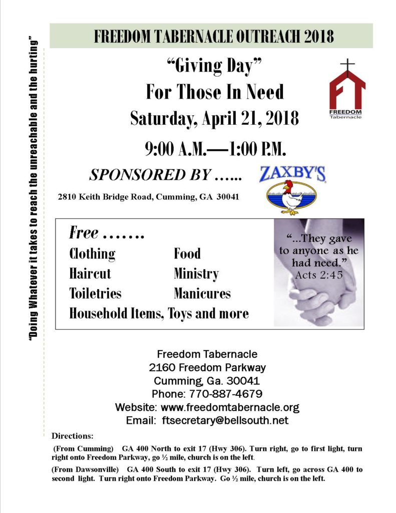 Giving Day by Freedom Tabernacle @ Freedom Tabernacle | Cumming | Georgia | United States