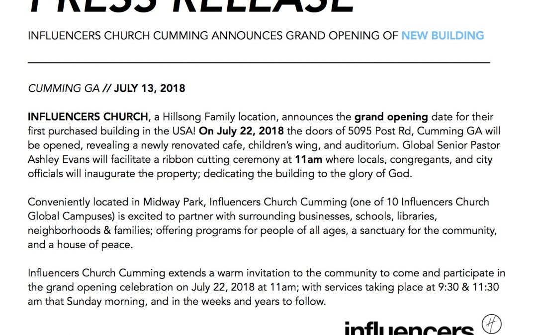 Influencers Church Grand Opening Cumming Local