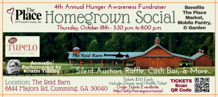 The Place of Forsyth County Presents The Homegrown Social 4th Annual Hunger Awareness Fundraiser on October 18th